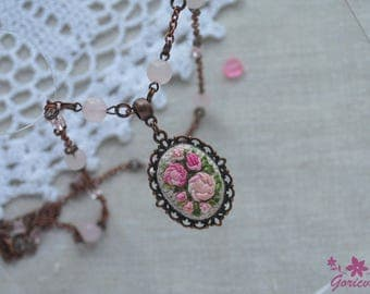 Flower necklace roses pendant statement jade jewelry Embroidered gift for her roses jewelry Pink stone necklace wife statement gift for mom