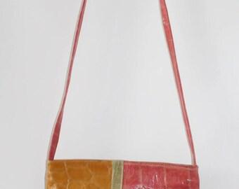Multicolored leather bag / Multicolored leather purse /Yellow leather bag /Vintage leather bag / Vintage purple leather bag /Vintage leather