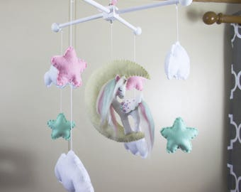 Baby mobile,unicorn baby mobile,moon and stars baby mobile,cloud baby mobile