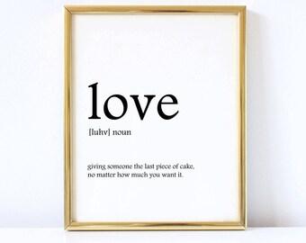 Love Definition Print, Home decor, Wall art, Instant Download, Digital Print
