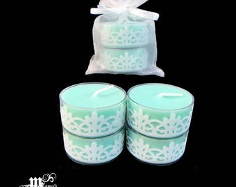 "Scented Tea Lights, Soothing Spa Scent, Seafoam Green and White, 1.5""w x .75""h, Soy, Organza Pouch (x3), Wedding, Bride, Tables, Dinner"