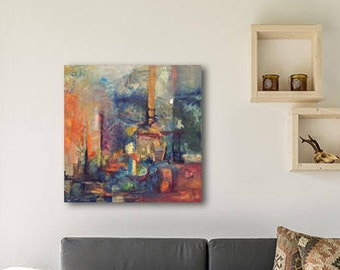City Painting, Abstract Painting On Canvas, Blue Painting, Wall Art Canvas, Oil Painting Landscape, Modern Abstract Art, Painting On Canvas