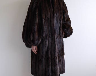 1950s brown mink fur balloon sleeve couture coat / collarless coat / m - l