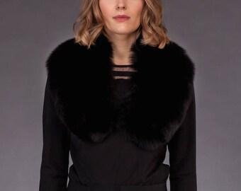 Handmade Genuine Black Fox Fur Shoulder Wrap / Stole / Collar