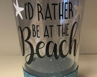Glitter Tumbler - I'd Rather Be At The Beach (Blue)
