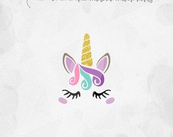 Unicorn SVG Unicorn Head SVG Unicorn Face SVG Unicorn horn Birthday - Cricut Silhouette - pdf png svg - girls birthday