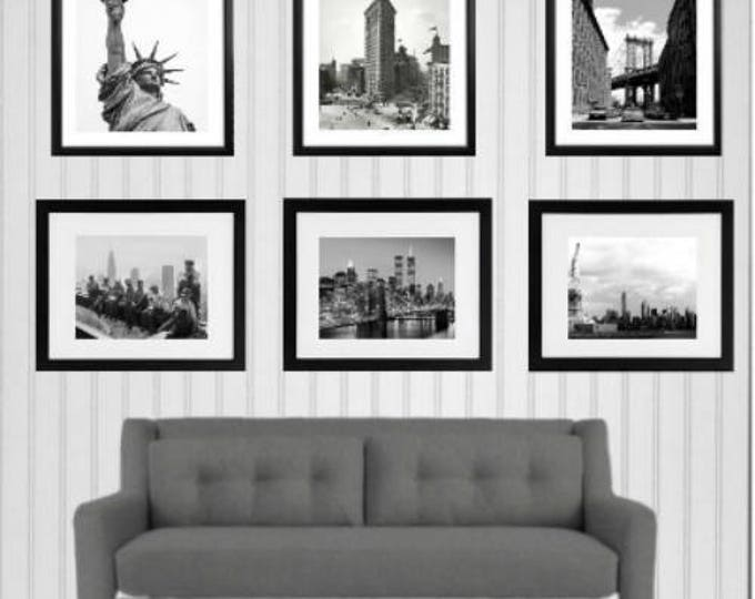 Set of 6 New York City Photographs, Framed photo prints 14x18 inch , Black and White Photo print, Home decor, Office Decor, Brooklyn Bridge