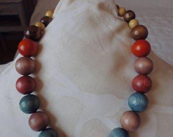 COLLIER  perle bois
