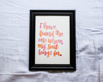 Song of Solomon Watercolored Print and Framed