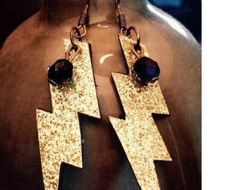 Sequined lightning bolt earrings