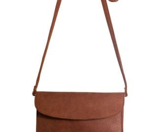 PAULA leather shoulder bag / Messenger bag leather Havana - last PIECE!