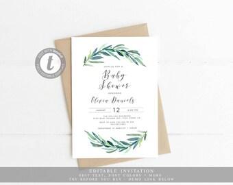 Baby Shower Invitation, Gender Neutral, Eucalyptus, Greenery, Botanical Baby shower, Digital, Instant Download, Templett, Printable