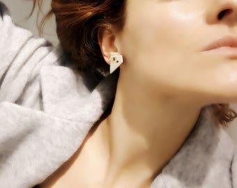 Ceramic trapezium earrings, dalmatian pattern ceramic earrings, dalmatian style ceramic earrings, trapeze stud earrings, trapezoid earrings