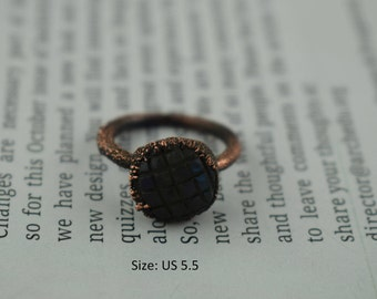 Labradorite Ring,Carved Ring,Craved Labradorite Ring Electroformed Ring For Women GFS1236