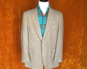 Vintage 1980s Mens Blazer, Tweed Wool Blazer