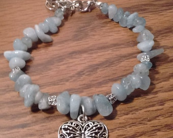 Light Blue Stone Chip Bead Bracelet with Butterfly, Heart Charm