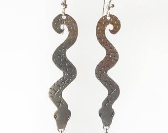 Snake Charmer Earrings in Sterling Silver with pink Garnets, serpent, victorian