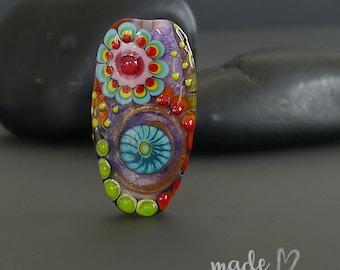 Handmade lampwork beads |   focal  |  LIFE is a GREaT big CANVAS |  free-formed  |  SRA  |  artisan glass |  Silke Buechler
