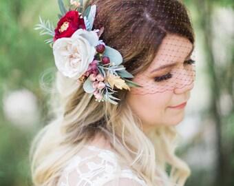 burgundy veil, burgundy wedding veil, bridal bandeau veil, bridal birdcage veil, dark red veil, russian veil, bandeau birdcage, VEIL ONLY