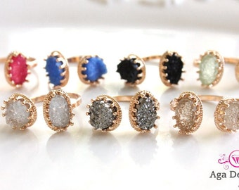 Gold ring, druzy stones, birthstones jewelry, Druzy ring, Silver ring, small stone ring, stack-able rings, crystal rings, hematite ring