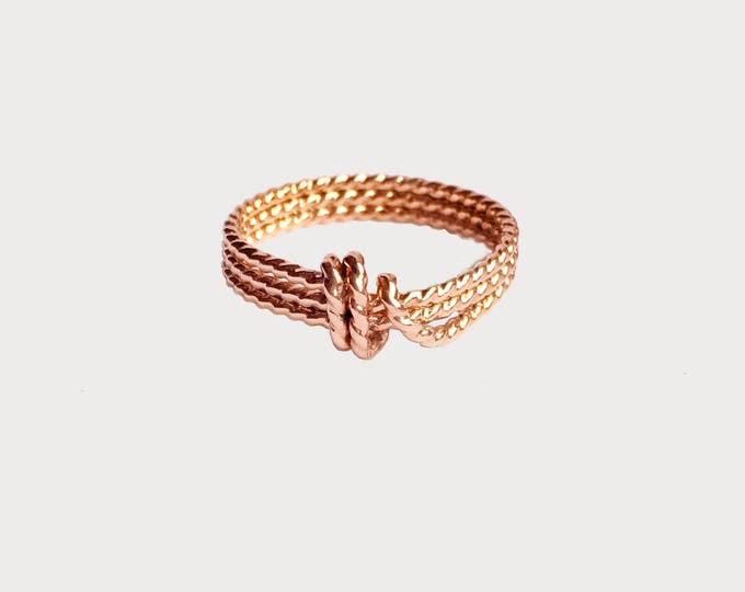 14K Rose Gold Love Knot Ring_Unique Wedding Promise ring