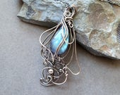 Labradorite and Dark Sterling Silver Tiny Lighweight Teardrop, wirewrapped Art Nouveau