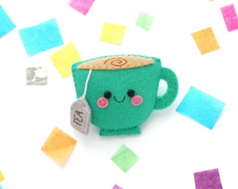 Green Teacup Brooch, hannahdoodle Accessory, Tea Gift, Felt Badge
