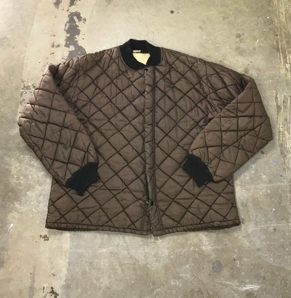 60s Brown Quilted Zip Up Jacket Lining
