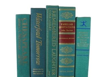 Rustic Country Home Decor, Farmhouse Decor, Green Books,  Decorative Books,  Shabby Chic Wedding Decor,  Vintage Book Collection,  Greenery