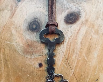 Skeleton Key Necklace - Steampunk - Flat Key Necklace - Hanging Charm - Key To My Heart - Vintage Key