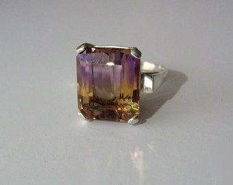 Large Top Grade Bi-Color Ametrine In Sterling Silver Ring 9.79ct. Size 6.