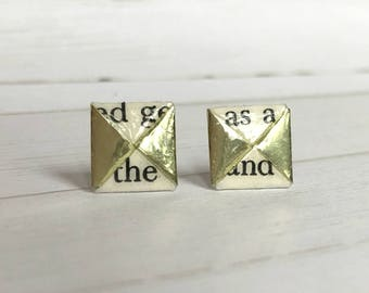 Literary Origami Gold Menko Post Earrings