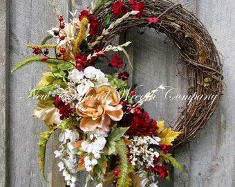 Fall Wreath, Autumn Wreath, Fall Floral Wreath, Designer Fall Wreath, Country French, Elegant Fall Wreath, Holiday Wreath, Christmas Wreath