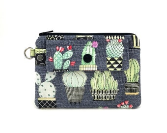 Cactus Zipper Pouch - Cactus Coin Purse - Zipper Wallet - Snap Pouch - Keychain Pouch - Gray Padded Pouch - Gift ideas - Change Purse