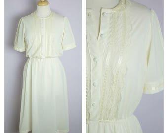 Vintage 1970's Cream Lace Collar Midi Shirt Dress M/L
