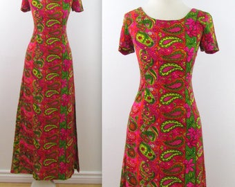 Blooming Paisley Party Dress - Vintage 1970s Fitted Column Dress in Small