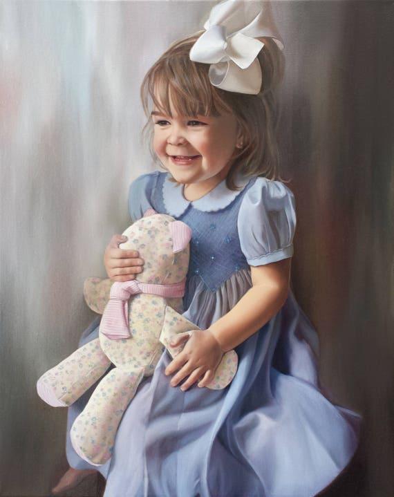 Custom Portrait - CUSTOM PAINTED PORTRAIT - Oil Painting - Portrait of a Girl - Unique Gift