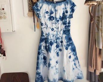 Sun dress size XS indigo hand dyed dress, one of a kind clothing by blumenkinder, sustainable clothinge