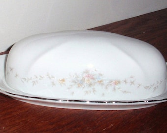 JOHANN HAVILAND BUTTER Dish 2 Pieces White Fine China Bavaria Germany 1970 Pink Floral Platinum Trim Stamped Excellent Condition