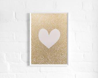 Gold Heart A3 Hand Drawn Art, Metallic Heart Print, Poster, Love Art, Heart Wall Art, Modern, Minimal, Original Art, Gifts for her