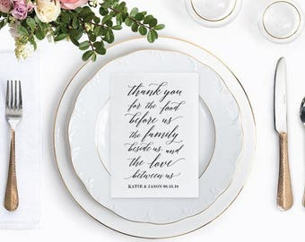 Thank You Wedding Place Setting Cards