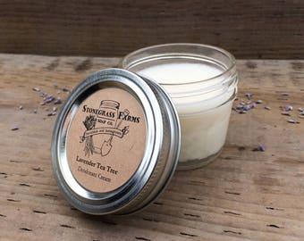 Lavender Tea Tree Essential Oil Deodorant Paste - Pit Paste - Natural Deodorant - Aluminum Free Deodorant Cream - 4-oz. Mason Jar