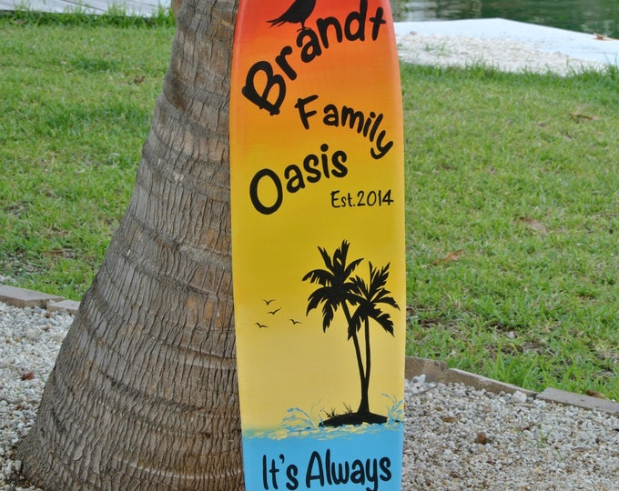 Family Oasis Wood sign. Surfboard Pool decor. Tiki Bar decor. Family Valentines gift. Tropical Wood Wall Decor. Its 5 O'clock somewhere.