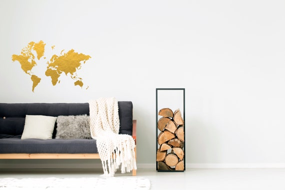 Gold world map wall decal gold office decor bedroom wall like this item publicscrutiny Image collections
