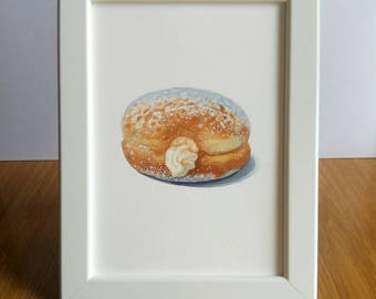 cream filled donut painting / food illustration / baby shower gifts / original watercolor doughnut / dunkin donuts / beautiful wall art