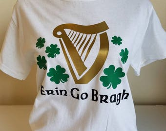 Erin Go Bragh Irish Harp With Shamrocks St Patrick's Day - Custom Designed HTV on 100% Cotton Gildan T-Shirt!