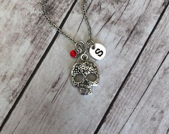 Sugar Skull Necklace - Day of the Dead - Dia de los Muertos - Mexican Jewelry - Personalized Birthstone - Skeleton Charm - Gothic Gift