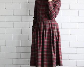Plaid Dress - Burgundy Plaid Dress - Tartan Dress -  Shirt Dress - Winter Dress - Long Sleeve Dress - Handmade by OFFON