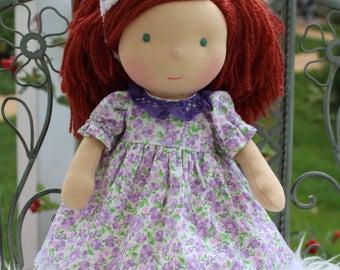 """Waldorf doll, 12.5"""" tall doll steiner doll, organic doll,fabric doll, cloth doll, handmade"""