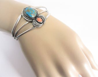 Vintage Sterling Navajo Turquoise Spiny Oyster Cuff Bracelet